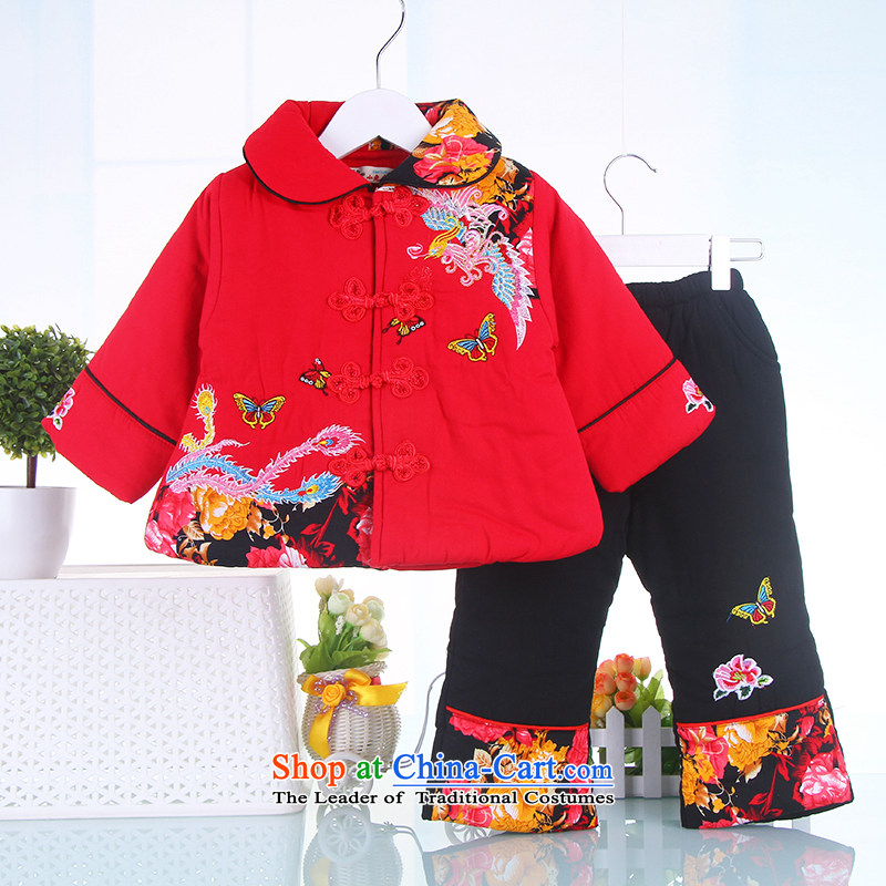 New Year Children Tang dynasty winter clothing boys aged 1 to celebrate the cotton 0-2-3 male infant children's wear kid baby jackets with red聽120