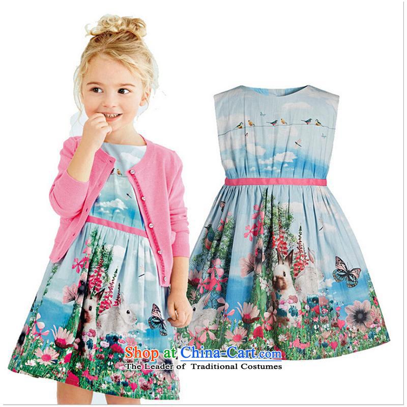 2015 new cartoon dresses girls' skirts western waistband stamp skirt100cm-140cm/1 rabbit hand 5