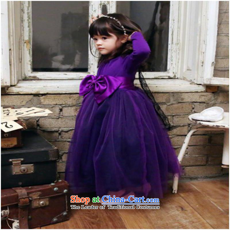 The girl child princess dresses autumn 2015 new children's wear, CUHK child dress children long-sleeved skirt purple 120cm
