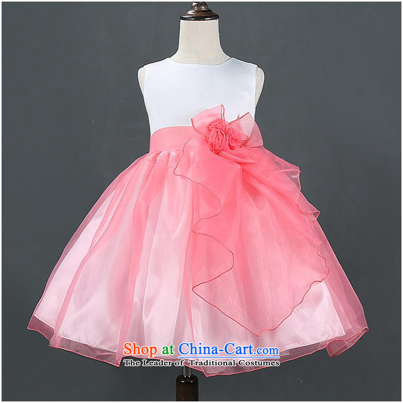 2015 Autumn, Korean girls are lovely and skirt spell flowers Princess Flower Girls dress girls skirt pink 130cm