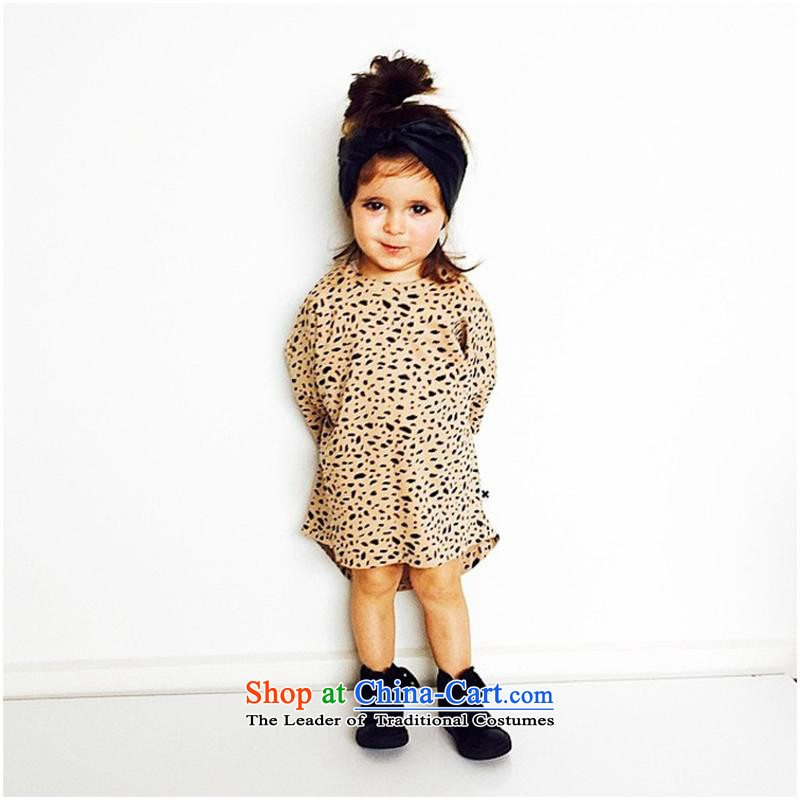2015 Autumn, foreign trade girls long-sleeved dresses western style leopard small and medium-sized child skirt聽A202 Leopard聽80-110cm_ first-hand 4 Piece