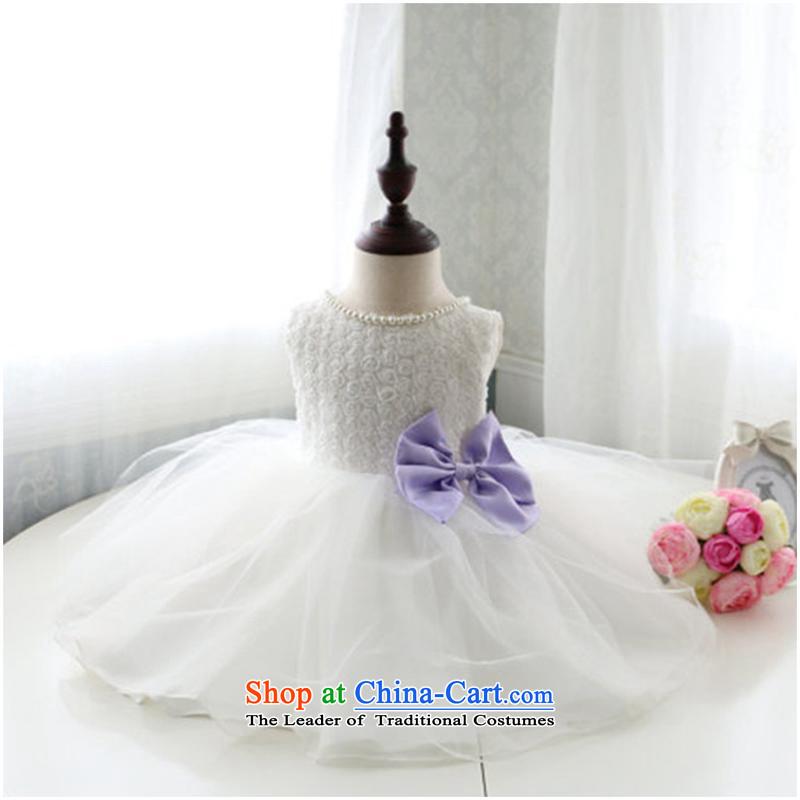 2015 Korean girl children's wear dresses autumn 2015, small and medium-sized child pearl collar Princess Bow Tie dress skirtC173 white140cm