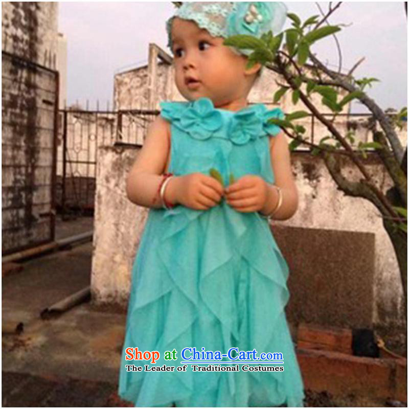 2015 new foreign trade girls dresses chiffon baby princess flowers skirts children skirt blue80cm-120cm/1 hand 5
