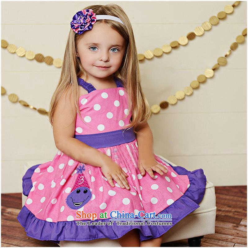 The original foreign trade single western straps girls dresses quality dots spell color child skirt princess skirt dot80cm-120cm/1 hand 5