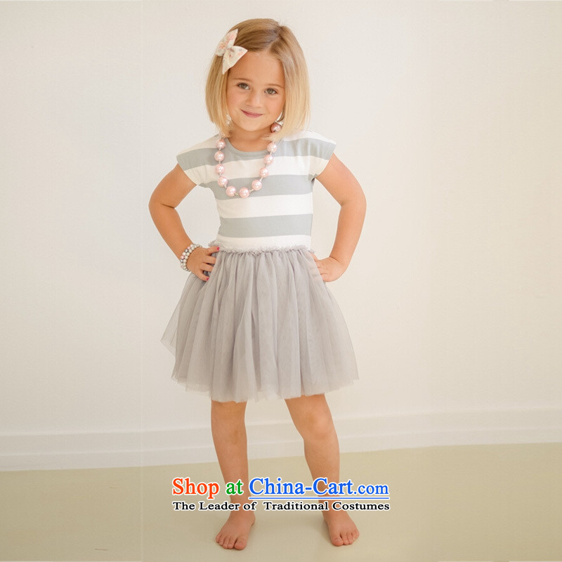 The summer and autumn of 2015 the new Korean horizontal streaks or bands gauze dresses girls' skirts gray100cm-140cm/1 princess hand 5