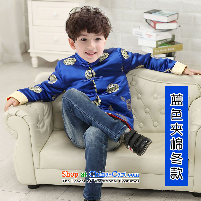 The risk of the bubbling children Tang dynasty during the spring and autumn boy Tang Blouses New Year Service Chinese Dress 3-12 years winter of blue cotton folder聽120 code