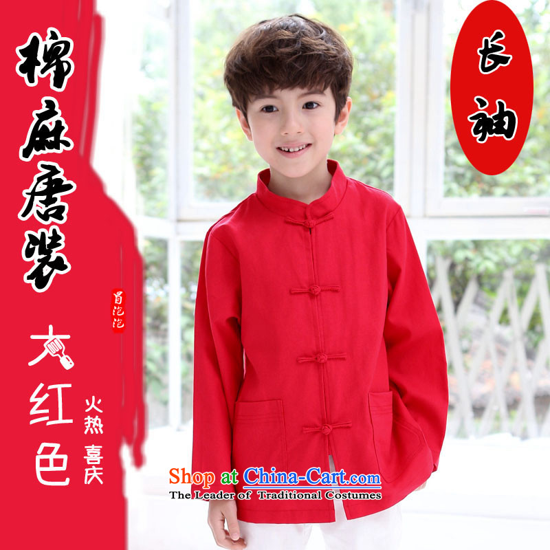 Tang Dynasty Chinese dresses children boy Tang dynasty autumn replacing linen/cotton Chinese school uniform performances showing the service kit boy China wind red cotton linen long-sleeved top 150