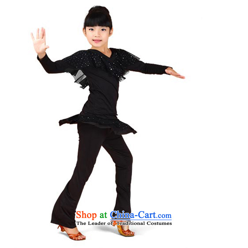 Adjustable leather case package children Latin dance wearing girls exercise clothing thick Shao Er Latin dance service kit autumn spring loaded long-sleeved lint-free4 160cm