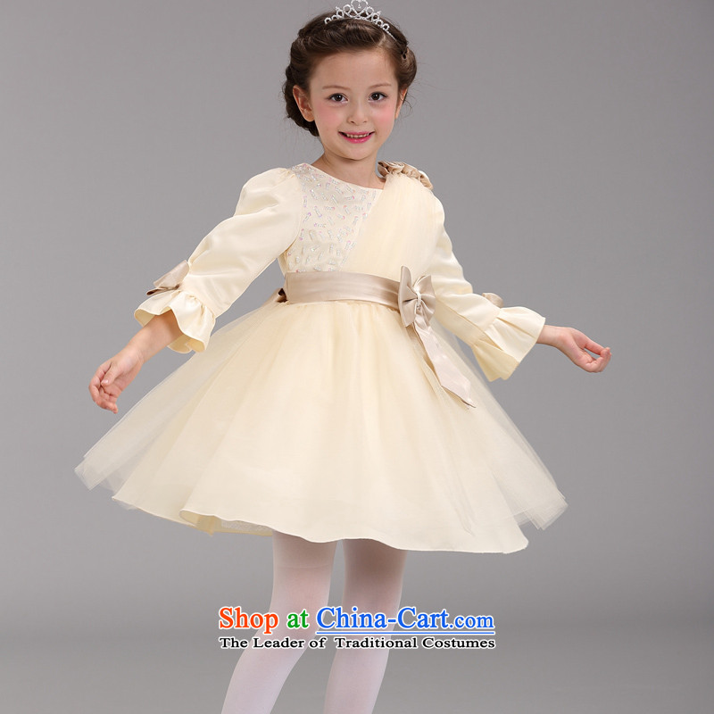 The autumn and winter Load BIG GIRL dresses long-sleeved Fall/Winter Collections children princess bon bon Flower Girls skirt the little girl children Bow Tie Princess skirt CUHK child piano dress yarn skirts champagne color 160