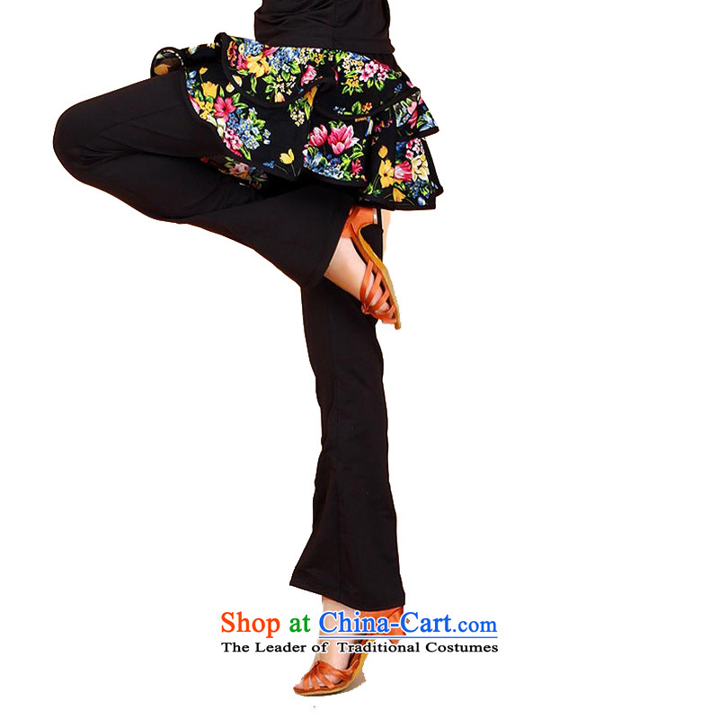 Adjustable leather case package children fall spring saika practitioners trousers girls Dance Dance wearing trousers early childhood Latin Dance Dance trousers black skirt trousers floweret 160cm