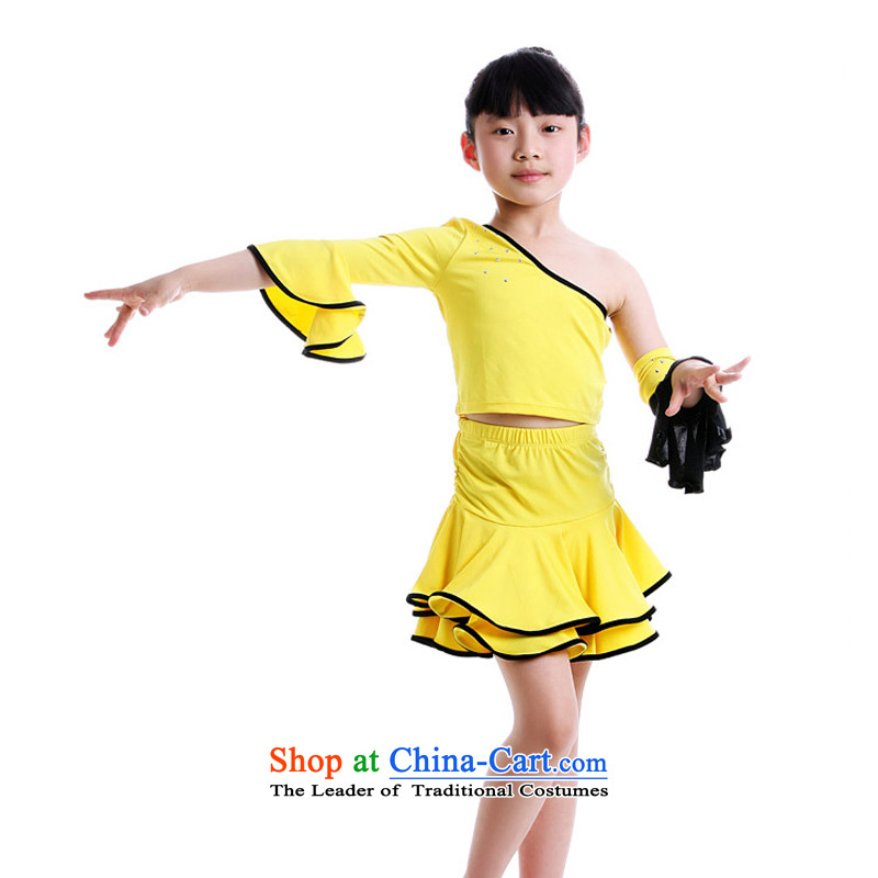 Adjustable leather case package child maids Latin dance wearing children will show services practice suits dance skirt Kit Yellow160cm