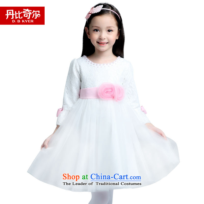 Dan bechill children's apparel girls will replace the autumn dress girls Flower Girls Wedding Dress Show Services 2015 princess new Korean dresses D719 map color code (130-140cm) 140