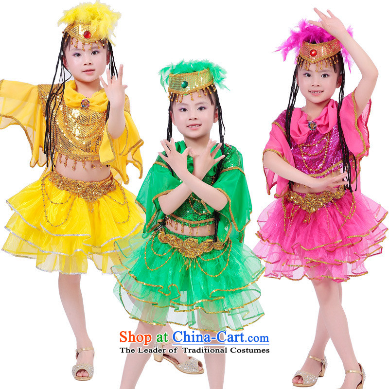 The new girls children dance wearing less d-Xinjiang show young children to Xinjiang will national costumes to prevent, yellow 140cm, leyier (shopping on the Internet has been pressed.)