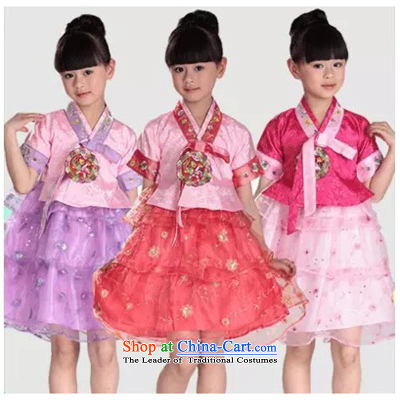Children 61 performances services minority chima chogori Shao Er stage performances serving girls serving Hanbok dresscode 6 dance purple 100-110cm suitable for left and right