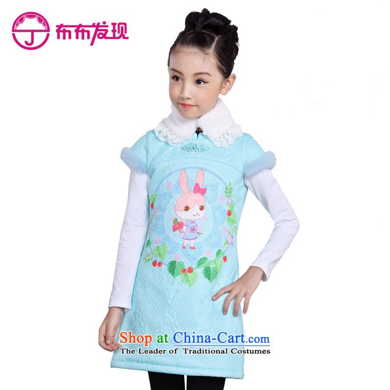 The Burkina found 2015 children's wear girls qipao cheongsam dress child CUHK short-sleeved Tang dynasty China wind cotton waffle) menthol folder Green160