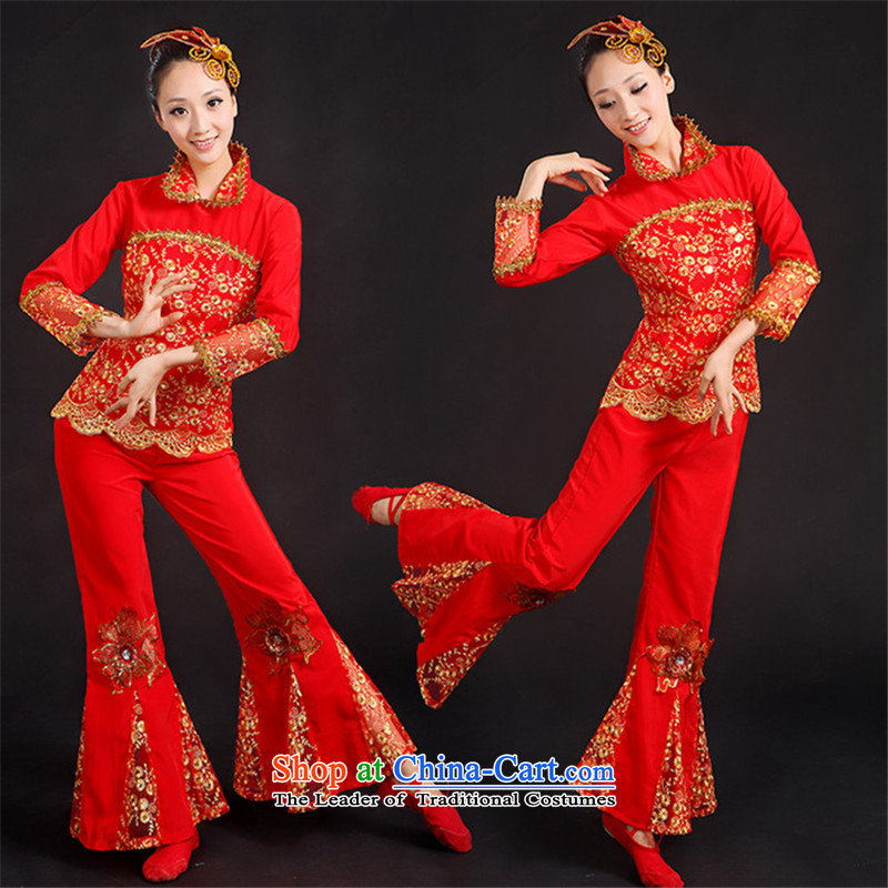 National services arena yangko janggu costumes dance fans handkerchief square long-sleeved dance will replaceXXXL red