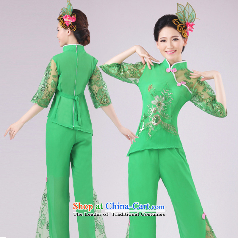New modern dance services yangko serving classic dance folk dance performances Fan Dance green XXXXL services