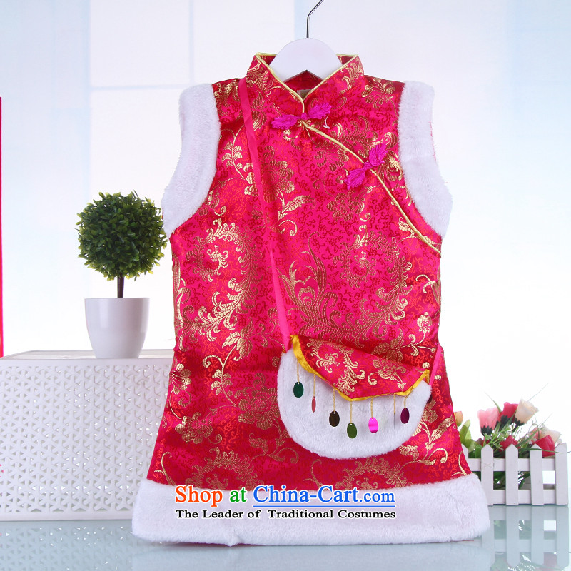 Tang Dynasty children by the year 2015 with the new year of autumn and winter clothes national costumes girls clip cotton robe cheongsam dress rose 110