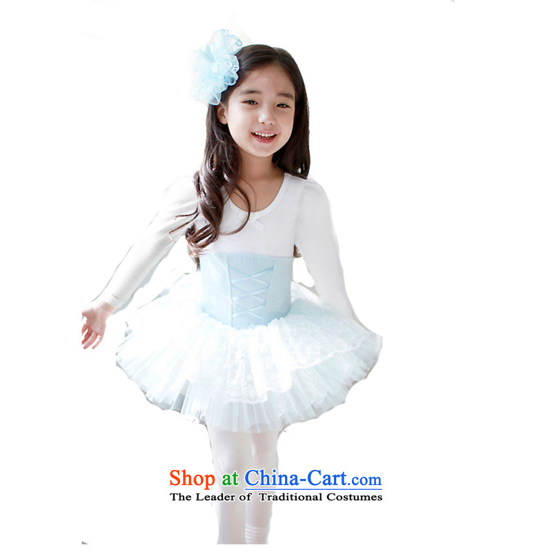 Adjustable leather case package girls long-sleeved dance skirt children ballet skirt will exercise clothing Princess Blue 140cm