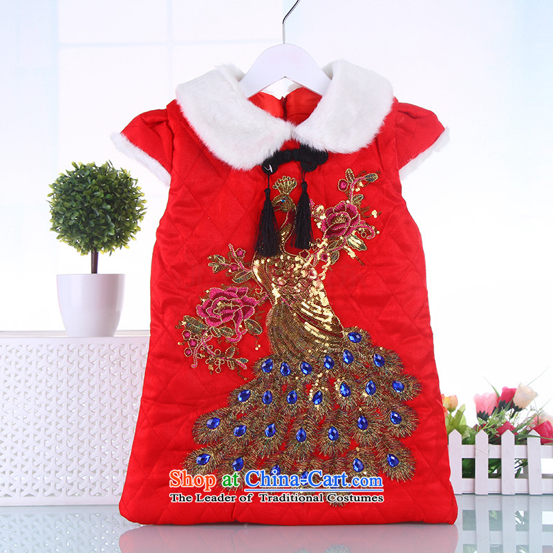 Tang dynasty children qipao girls of autumn and winter warm plus new year with lint-free baby winter clothes Red110