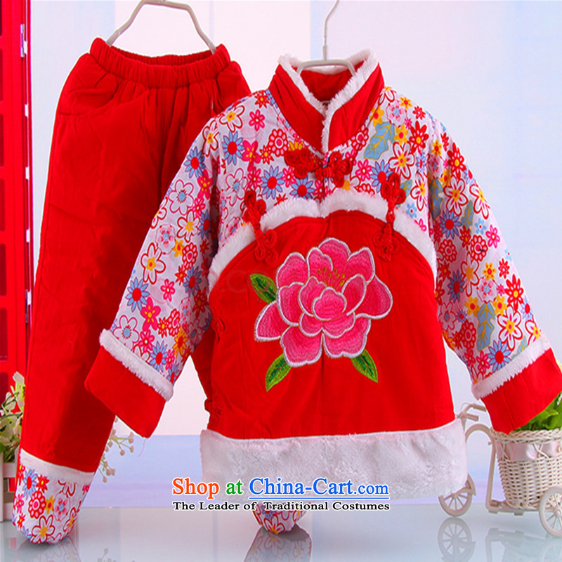 The girl child and of children's wear winter clothing baby cotton waffle cotton clothes kit children age dress Tang dynasty 2-5-year-old New year red 100