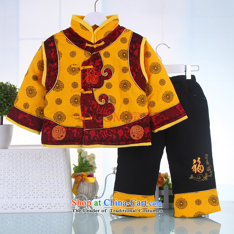 Autumn and Winter, Tang dynasty boy children age babies Tang dynasty infant small padded coats whooping hundreds of age red and yellow yellow 90