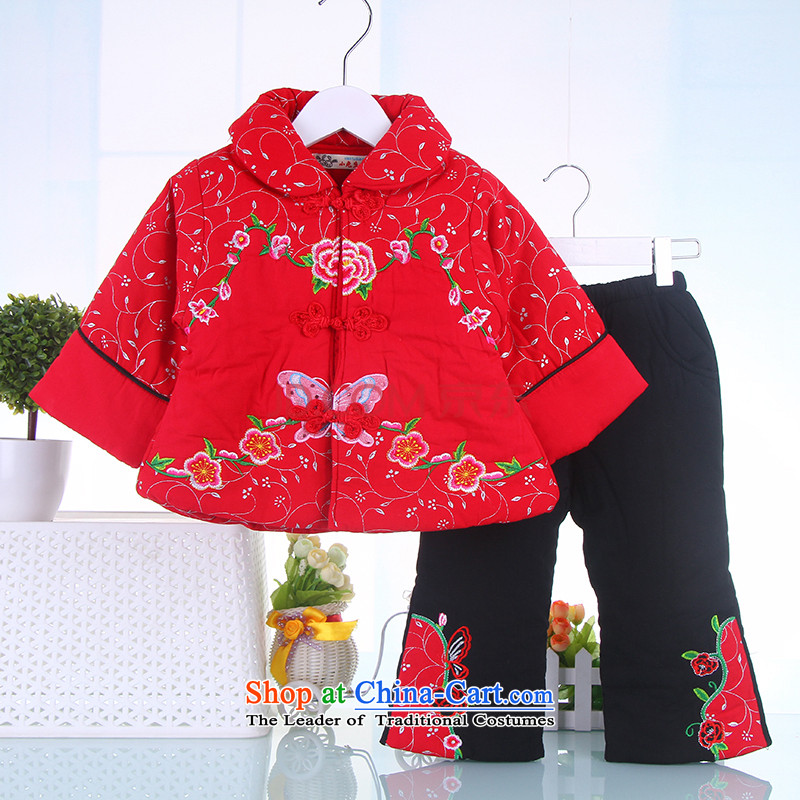 Winter) New Year Girls dresses and infant children sets your baby Tang dynasty FULL MOON CHILD age serving 2-5 years old Red 110