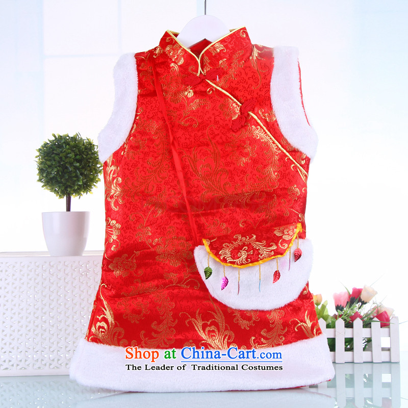The girl child during the spring and autumn winter cheongsam dress Tang dynasty children age dress princess birthday baby Princess Returning Pearl cotton vest Services folder Red 100