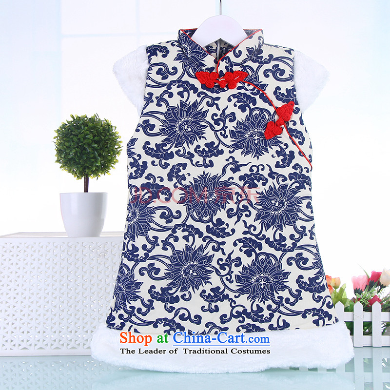 Children Winter Female Tang Gown cheongsam dress cotton 2-3-4-year-old female babies vest skirt New Year Services Deep Blue100
