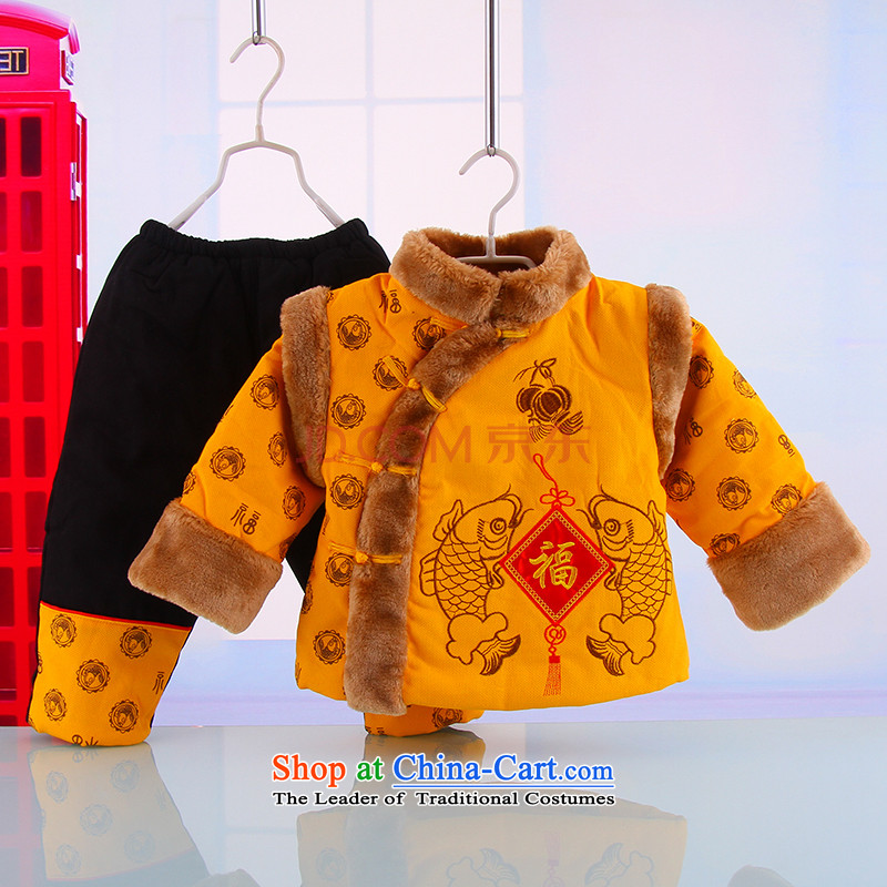 Infant children's wear boys and girls jacket thick cotton clothes new year-old baby Tang dynasty 0-1-2-3 Winter Yellow?73