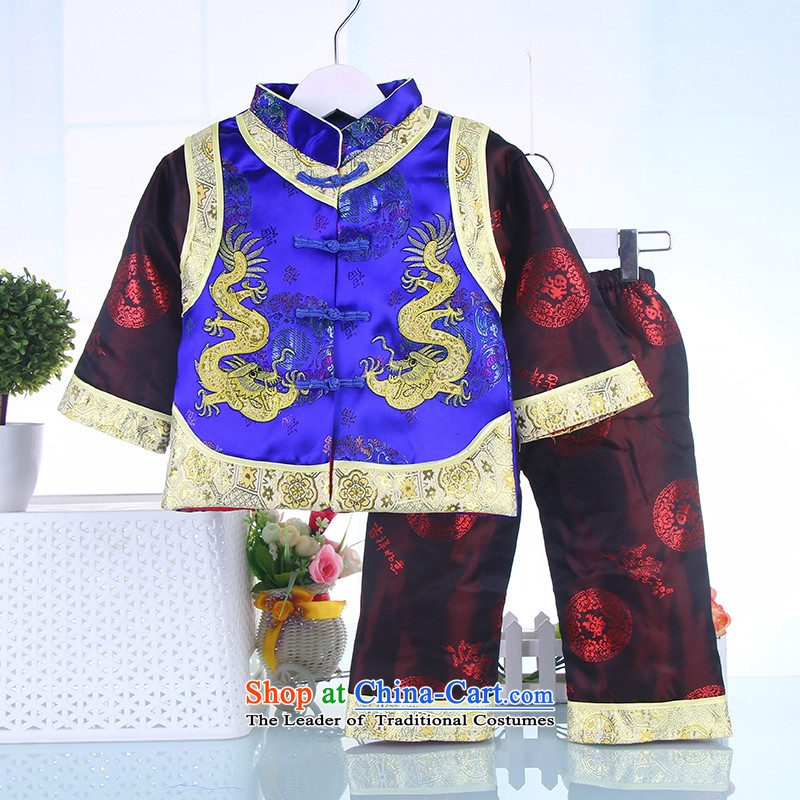 The autumn and winter new Tang Dynasty Package children infant boys and girls are packaged baby birthday dress Tang dynasty age two kits Blue 90