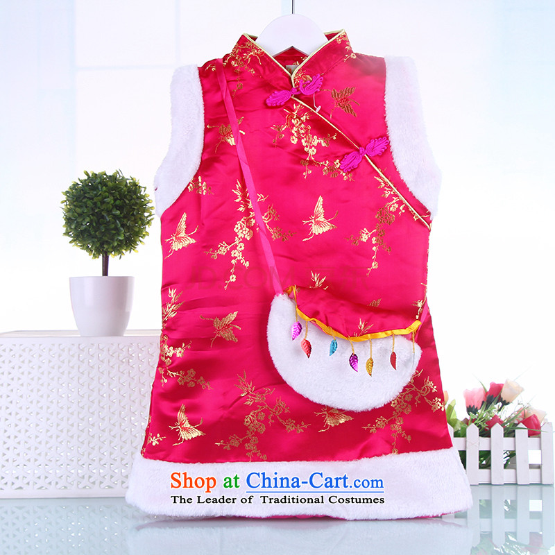 Tang Dynasty children serving giggling girl Po New Year clamp cotton coat cheongsam dress chinese red winter clothing pink 130