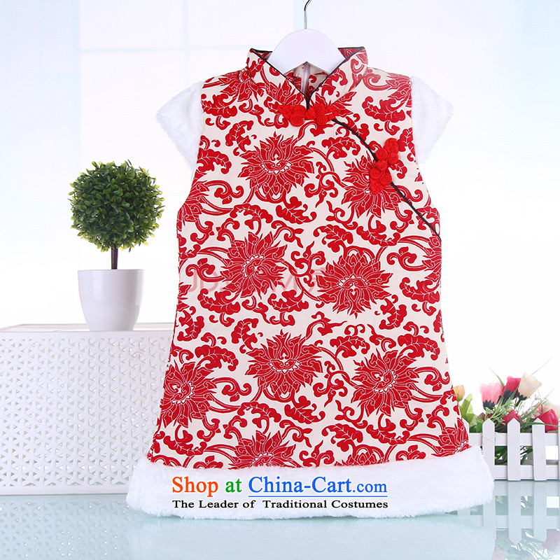 Children Winter Female Tang Gown cheongsam dress your baby girl vest skirt cotton New Year Services Deep Blue�110