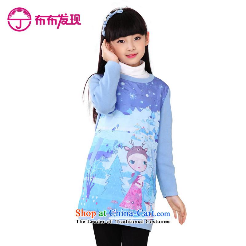 The Burkina found 2015 children's wear girls qipao cheongsam dress child CUHK short-sleeved Tang dynasty China wind-thick cotton, dresses folder will light blue160 code 34509227