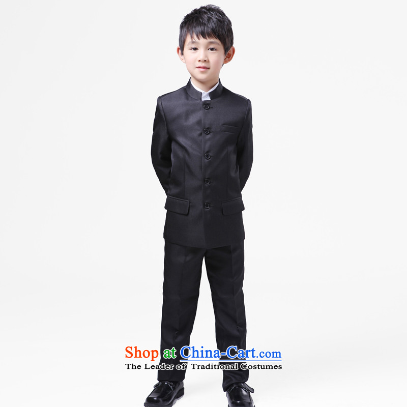 Adjustable leather case package children Chinese tunic will male students may replace the boy of the Republic of Korea young students with black Dress Photography Show聽120cm
