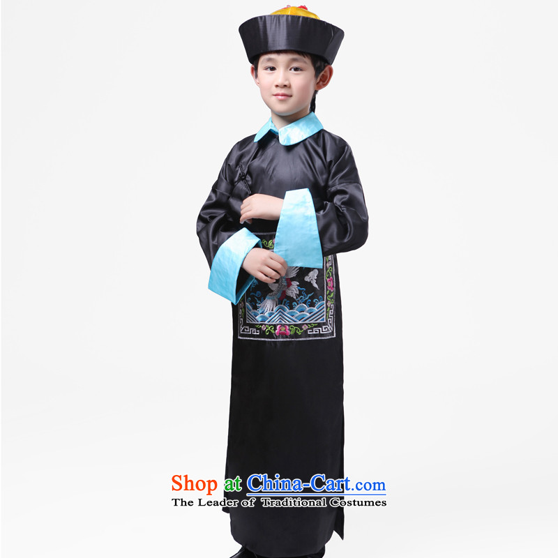 Adjustable leather case package children costume of the Qing court eunuch Services Minister Chiang, and service performance services Qing dynasty zombies Halloween uniforms Black 175