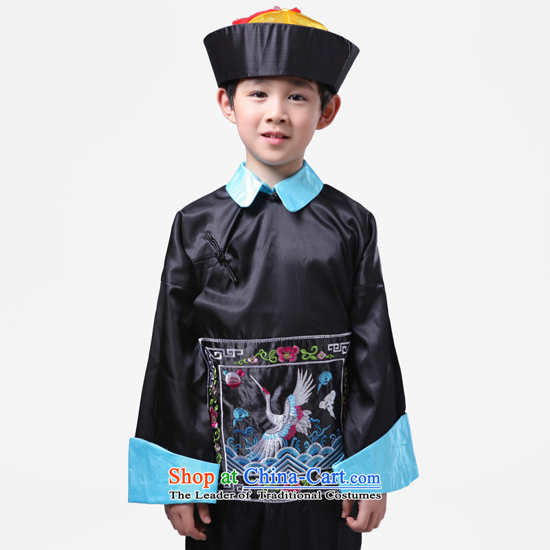 Adjustable leather case package children costume of the Qing court eunuch Services Minister Chiang, and service performance services Qing dynasty zombies Halloween uniforms black聽leather adjustable 175 package has been pressed shopping on the Internet