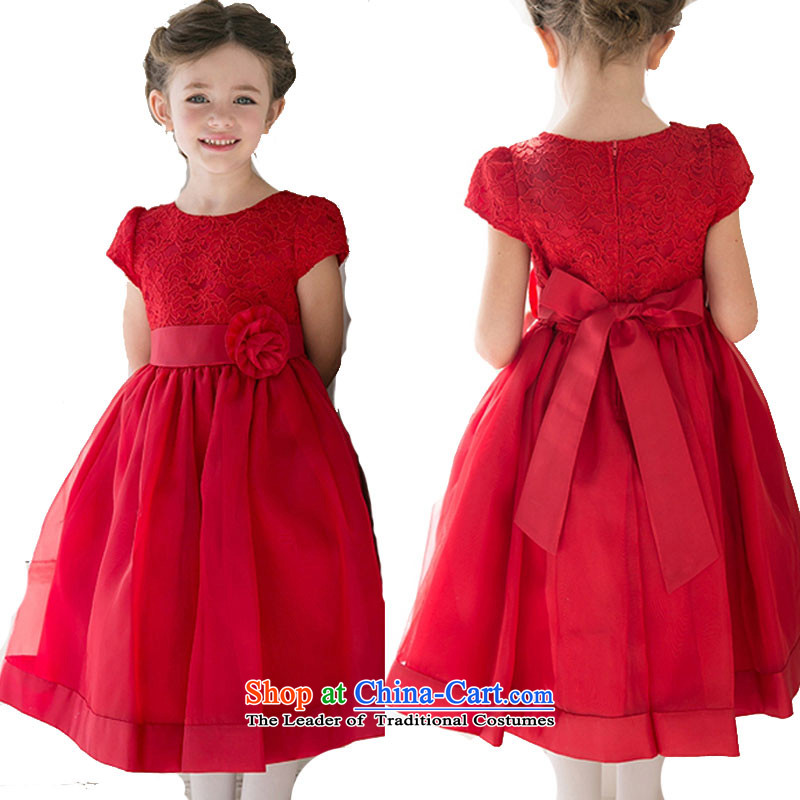 Adjustable leather case package of children's wear skirts girls princess skirt dresses little girl children short-sleeved gown bon bon skirt red 140cm