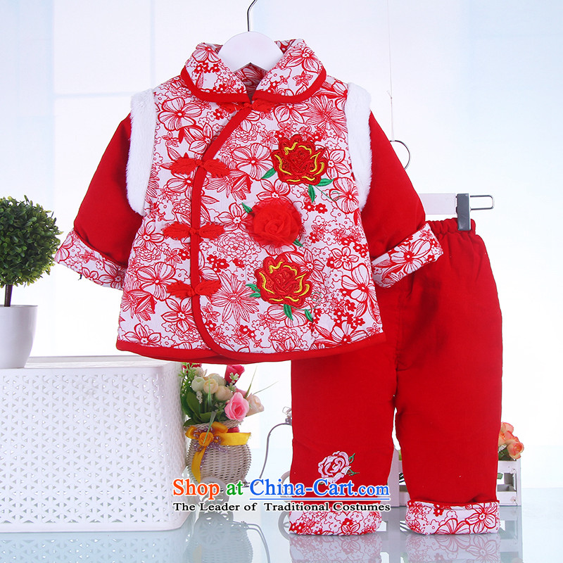 New female children Fall/Winter Collections New Year Children Tang dynasty women baby coat jackets with Red66
