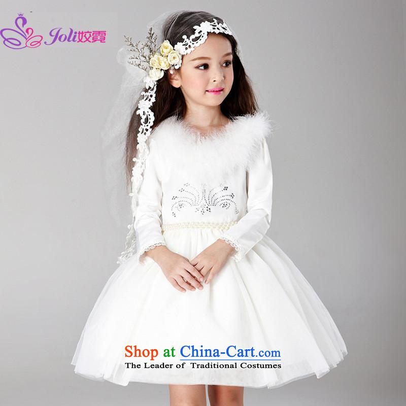 Each Princess skirt girls Ngai girl children's apparel will Flower Girls dress girls skirt long-sleeved white dresses Princess聽120