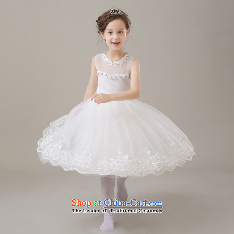 Flower Girls dress white girls princess skirt children wedding dresses baby birthday bon bon skirt white 110cm,