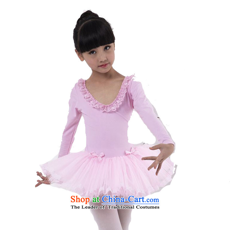 Children Dance wearing girls Ballet Dance skirt skirt dress autumn, long-sleeved Shao Er costumes exercise clothing pink long-sleeved 150cm