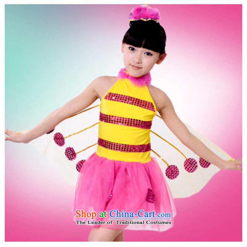 61. Children costumes on model princess sweet dress honeybee dance performances service skirts and clothing in red 130cm