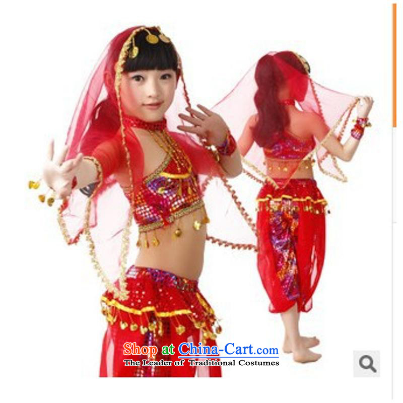 61. Children will dance wearing belly new early childhood, Xinjiang ethnic dance India skirt girls show services red聽140cm