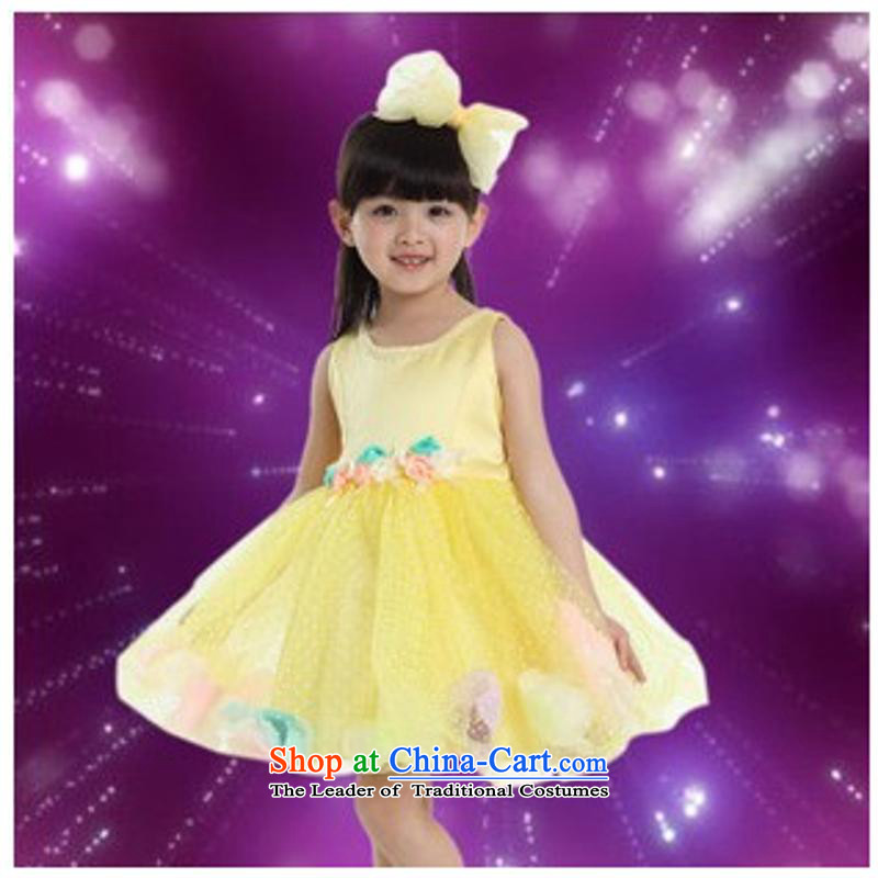 Children will dress bon bon girls modern dance performances to early childhood services Princess Latin Dance Dance Show skirt Yellow?100cm