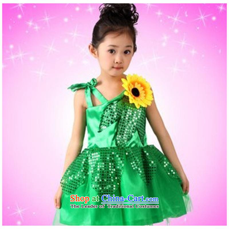 Early childhood dance performances to celebrate children wearing the new girls show apparel shiny cards modern contemporary dance dress Green 5.30