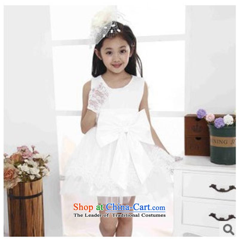 The girl child princess dress skirt Flower Girls dress show group of children will bon bon skirt small moderator Show Services White120cm
