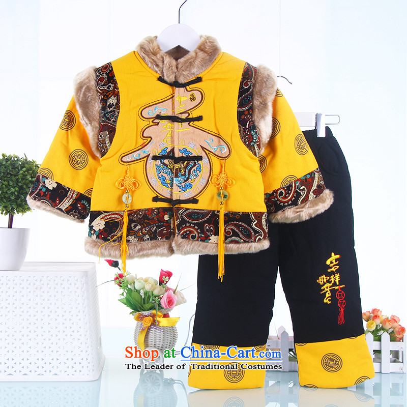New Year Children Tang dynasty winter clothing boys aged 1 to celebrate the cotton 0-2-3 male infant children's wear kid baby jackets with Yellow 90