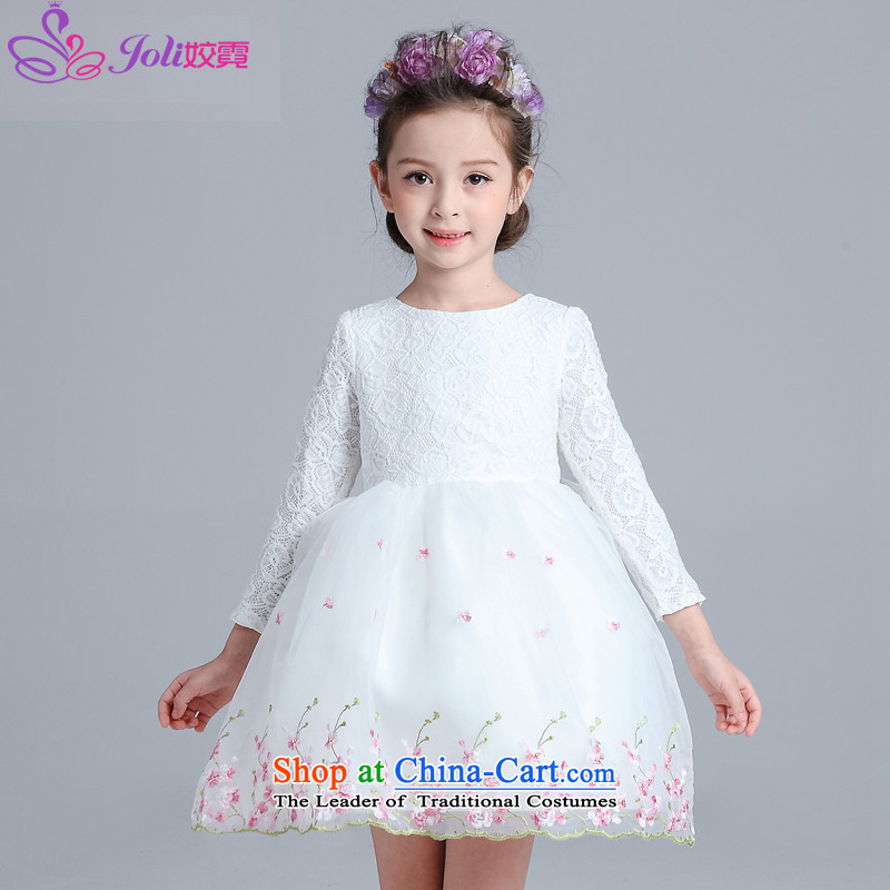 Each Ngai girls princess skirt dress skirt flower girl will dress snow white dress clothes dress Flower Girls female white聽150