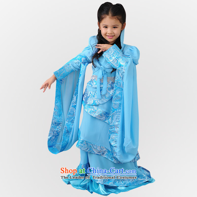 Children costume Xian Jian Yong Kwai fairies clothing girls martial arts performances of ancient services services photography dress Blue 160cm